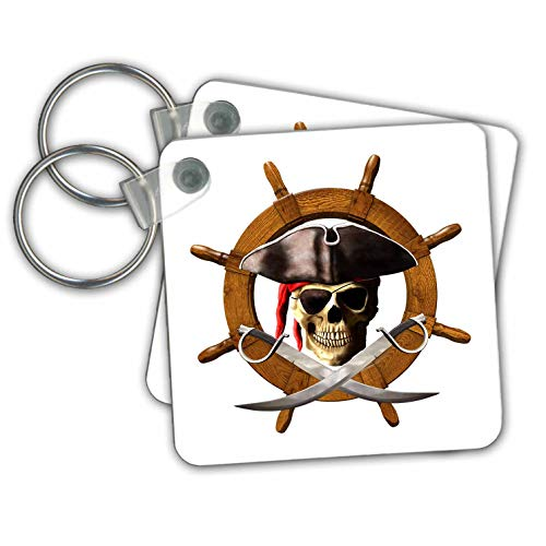 Jolly Roger Skull Keychain - MacDonald Creative Studios – Nautical - Nautical ships wheel or helm with a pirate skull and swords. - Key Chains - set of 2 Key Chains (kc_295618_1)