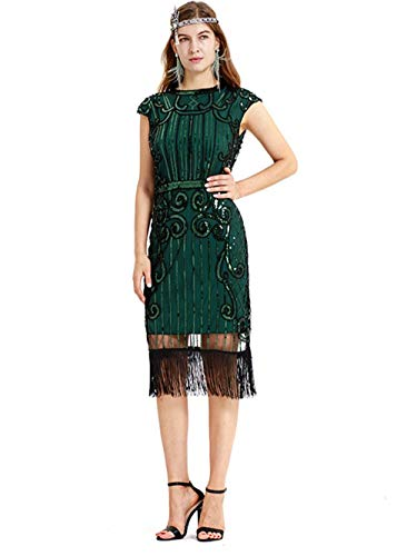 (Women's Vintage Sequin Dress Handmade Bead Tassel Evening Dress for Cocktail Club Prom Party Formal Occasions Casual Wedding,Green,M)