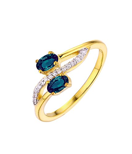 Natural Alexandrite Diamond Ring in 14k Yellow Gold