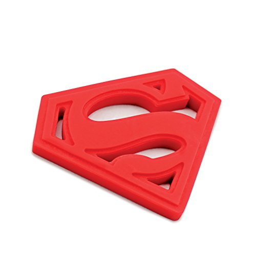 (Bumkins DC Comics Superman Silicone Teether, Textured, Soft, Flexible, Bacteria)