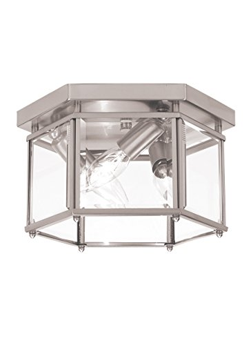 Sea Gull Lighting 7648-962 Bretton Three-Light Flush Mount Ceiling Light with Clear Beveled Glass Panels, Brushed Nickel Finish (Bretton Pendant Lighting)