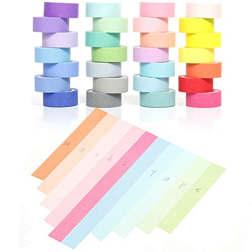 YUKUNTANG Washi Masking Tape Set, Decorative Writable Washi Craft Tape Set 28 Rolls for DIY Crafts Book -