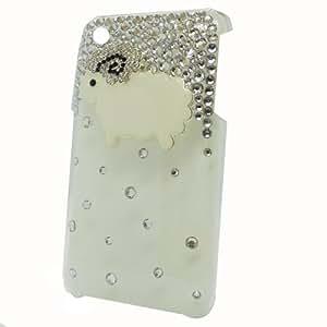 Semoss Funda de Bling Cristal Diamante Carcasa Case Cover Con Ovejas Para Apple iPhone 3GS 3G