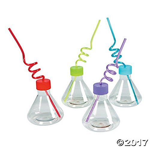 8 science party Cups with silly loop straws - Plastic reusable