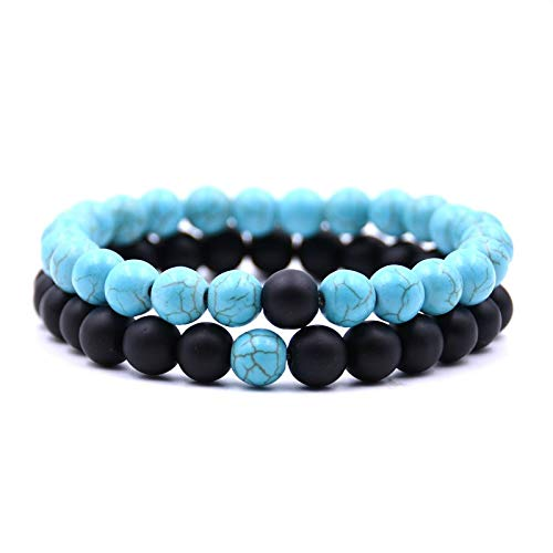 FEDULK 2Pcs Men Women Tiger Eve Stone 8mm Lava Rock Chakra Beads Elastic Natural Agate Bracelet(C, One Size) ()