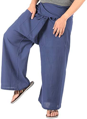 CandyHusky Cotton Men Women Fisherman Pants Summer Tai Chi Hippie Yoga Pants (Navy - Machine Leg Karate