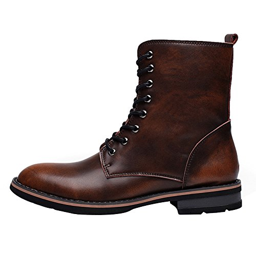 Boots Chukka Lace Winter Mens Heel Ankle rismart fur Stylish Low Warm Brown Boots Toe Lining Chunky Up Pointed wxxUvz0q