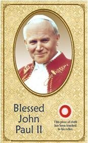 - John Paul II Holy Card with Cloth Relic Prayer Card Issued on Beatification May 1 2011