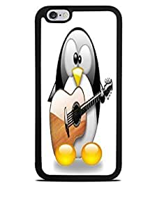 Cute Penguin Playing the Guitar Black Silicone Case for iPhone 6 (4.7)