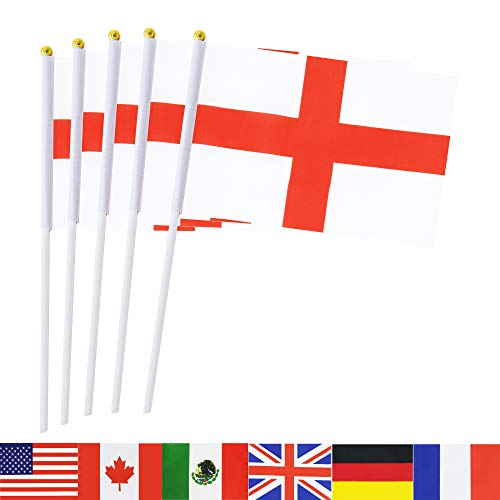 England Stick Flag,TSMD 50 Pack Hand Held Small English National Flags On Stick,International World Country Stick Flags Banners,Party Decorations For World Cup,Sports Clubs,Festival Events Celebration