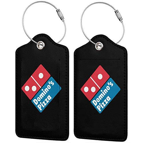 Leather Luggage Tags Domino's Pizza Name ID Labels For Travel Suitcase Baggage Bag Set Of 2 (Dominos Best Pizza Name)