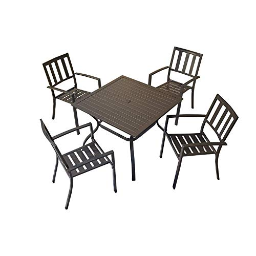 PatioFestival 5 Piece Patio Dining Set Outdoor Dining Table and Chairs Furniture Sets Metal Frame Slat Chairs and Square Table with Umbrella Hole for Garden Balcony Lawn, Black Chairs Table Set