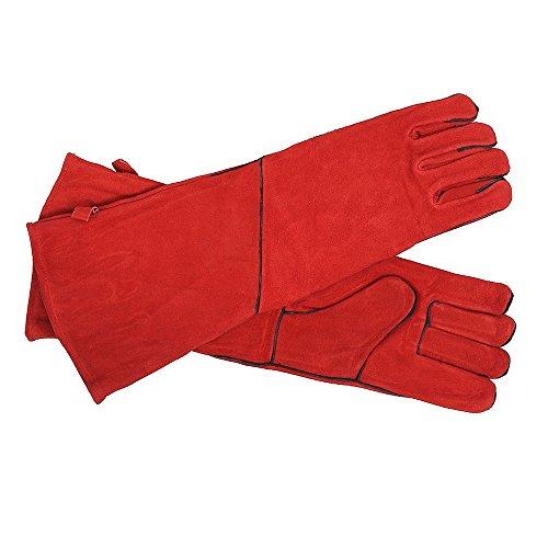 Minuteman - Guantes de barbacoa para chimenea, largo, Rojo, 1