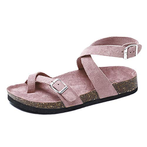 - Comfy Ring Toe Flat Strappy Slip on Cross Ankle Strap Cork Sandals for Women Pink 09