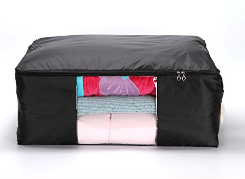 Youqin Comforter Storage Bags Blanket Pillow Sheet Clothes Quilt Organizer Containers (Black, XXL) by Youqin