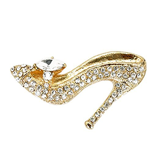 Gold Plated Full Inlay Crystal High Heels Shoes Brooch and Pin -Gift Packaging Included