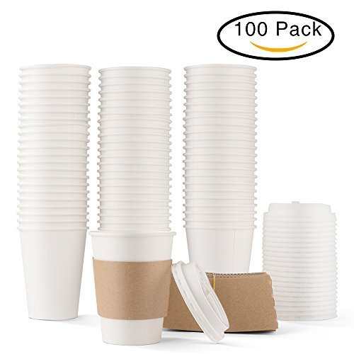 Durable White Paper Hot Coffee Cups with Cappuccino Lids and Protective Corrugated Cup Sleeves, Pack of 100 (12 Ounce)