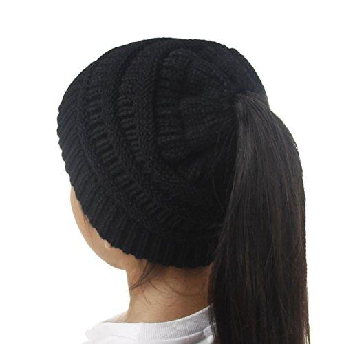 Wakeu BeanieTail Kid Girl Ponytail Messy Bun Beanie Solid Ribbed Hat Cap (Black)