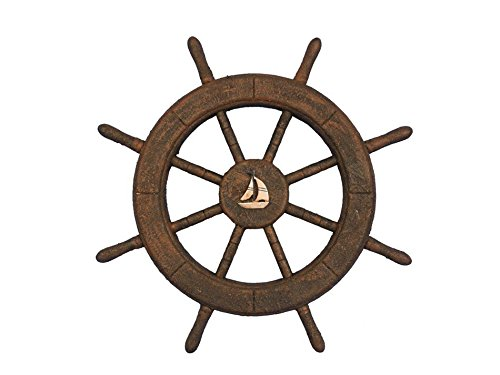 - Handcrafted Nautical Decor Flying Dutchman Ghost Pirate Ship Wheel with Sailboat 18