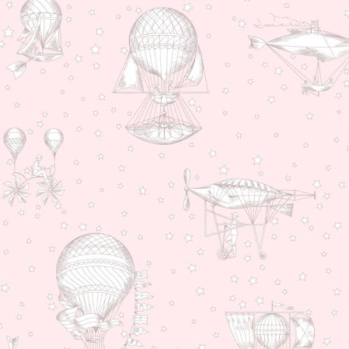 JR3002 - Jack N Rose Junior Grey Pink Air ships Balloons Galerie Wallpaper by Grandeco