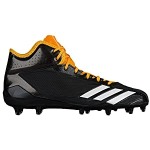 adidas Adizero 5Star 6.0 Mid Cleat Men's Football 10.5 Black-White-Gold Solid