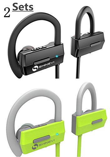 Gents Set - SHINEVI Bluetooth Headphones, Wireless Sports Earphones w/Mic HD Stereo Sweatproof Earbuds for Gym Running Workout 7 Hour Battery Noise Cancelling Headsets for Men Women - 2 Sets Black and Green