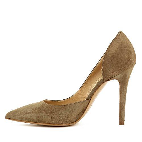 Evita Shoes Alina Damen Pumps halboffen Rauleder Braun