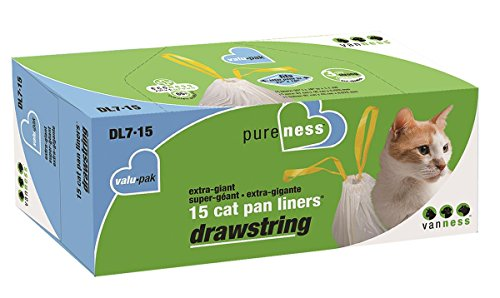 Van Ness DL715 PureNess Extra Giant Drawstring Cat Pan Liner, 15-Count Drawstring Cat Pan Liners