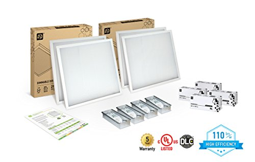 Recessed Led Edge - 4-PACK ASD LED Panel 2x2 Dimmable Edge-Lit Flat 27W 3500K High Efficiency Series