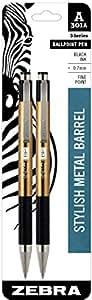 Zebra 301A Retractable Ballpoint Pen, 0.7mm, Gold Barrel, Black Ink, 2 Pack, (27542)
