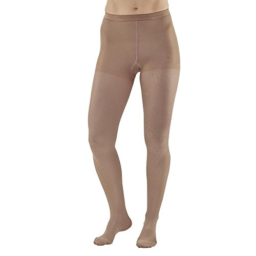 Ames Walker AW Style 208 Microfiber Opaque 15-20mmHg Moderate Compression Closed Toe Compression Pantyhose Tights Sand Medium - Relieves tired aching legs - Compression aids blood circulation by Ames Walker