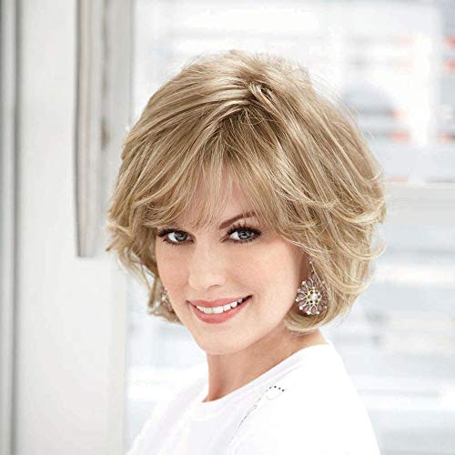 - Emmor Blonde Human Hair Wigs for Women Mixed Healthy Synthetic Fiber Layered Wig With Side Part,Natural Daily Use (Color 30/613)