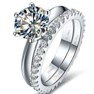 Ladysdesign Wedding Ring Set: White Gold Color 0.6-3carat Simulated Gem 925 Silver Ring ()