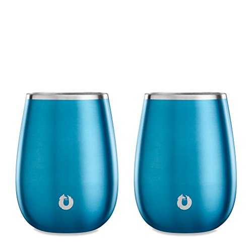 SNOWFOX Insulated Stainless Steel Stemless Wine Glasses, Set of 2, 13.5 oz, Soft Blue