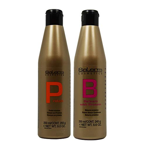 (Salerm Cosmetics Protein Shampoo and Protein Balsam Conditioner Duo Set (9ounce and 8.6ounce))