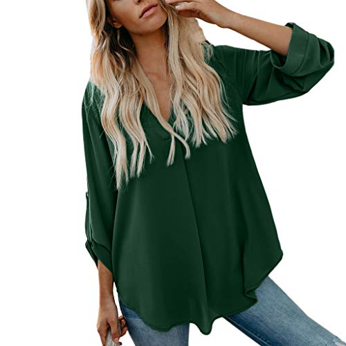 Womens Daily Solid, Lady Long Sleeve Loose V Neck Tops Shirt Casual Tunic Blouse