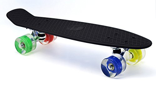 Merkapa Skateboard Glow Deck Cruiser Board With LED Light Wheels (Black) (Skateboard Deck Skateboards Decks)