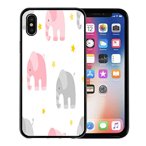 - Semtomn Phone Case for Apple iPhone Xs case,Pattern Baby Girl Cute Elephants Twinkle Pretty Children Star Little for iPhone X Case,Rubber Border Protective Case,Black