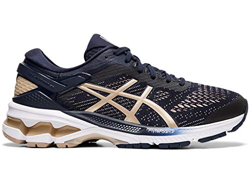 ASICS Women's Gel-Kayano 26 (D) Running Shoes, 8.5W, Midnight/Frosted Almond (Best Foundation For Women Over 50)