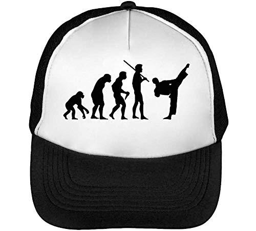 Human Evolution Karate Gorras Hombre Snapback Beisbol Negro Blanco