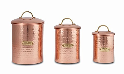 Mud Pie 4935001 Hammered Copper Set of 3 Kitchen Canister Set, One Size
