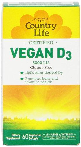 Country Life Vegan D3 Capsules, 60 Count