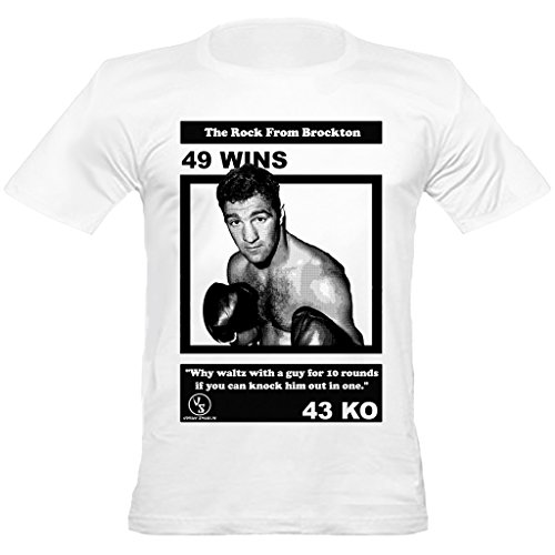 Rocky Marciano Undefeated Boxing Crew Neck Regular Fit T-Shirt, Large, White ()