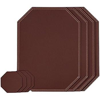 Nikalaz Dark Burgundy Ocatgon Set Of Placemats And Coasters, 4 Table Mats  And 4 Coasters