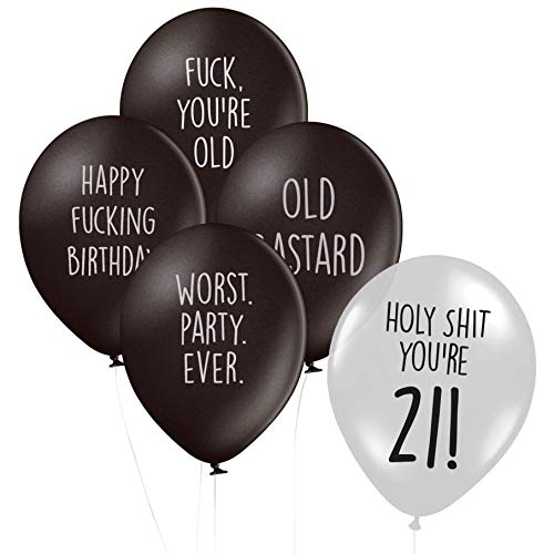 Abusive Milestone Birthday Balloons - Pack of 15 Different Funny Offensive Balloons (for Him) (Age 21)