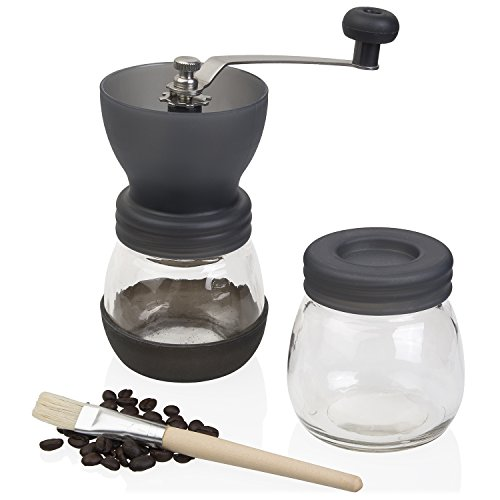 Jumbl Ceramic Coffee Hand Crank Manual Grinder - Adjustable to Different Grind Sizes Includes Brush -Colors May Vary (07 Single Canister System)