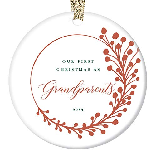 New Grandparents Gift Ornament 2019 Baby First Christmas Keepsake 1st Time Grandma & Grandpa Dated Present Pregnancy Announcement Farmhouse Tree Decoration Red Berry Ceramic 3