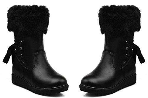 Comfortabele Dameslaarzen Met Capricieuze Imitatiebont Gevoerd Dameslaarzen Met Half Sleehak En Halfhoge Kuitlaarsjes Zwart