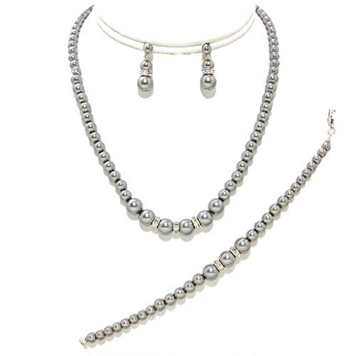 Gray Pearl Set - Shoppe23 Pearl Necklace Set Fashion Jewelry (Grey) #115