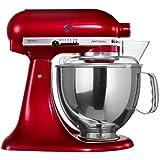 KitchenAid Artisan Design 5KSM150PSDCA 10 Speed 4.7 Litre (5Qt) 300 Watt Tilt Head Stand Mixer with Flat Beater, Dough Hook, Whisk, Stainless Steel Bowl & Pouring Shield (Candy Apple)